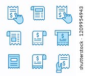 receipt flat line icons. set of ... | Shutterstock .eps vector #1209954943