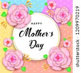 mother's day greeting card with ... | Shutterstock . vector #1209970219