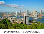 Small photo of View of Rotterdam city and the Erasmus bridge Erasmusbrug over Nieuwe Maas river from Euromast