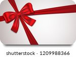gift card with red ribbon and... | Shutterstock .eps vector #1209988366