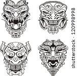 aztec monster totem masks. set... | Shutterstock .eps vector #120998998