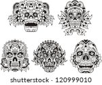 Floral Ornamental Skulls. Set...