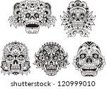 Floral Ornamental Skulls. Set...