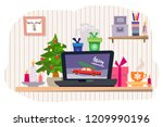 christmas office workplace in... | Shutterstock .eps vector #1209990196