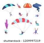skydivers set. people jumping... | Shutterstock .eps vector #1209997219