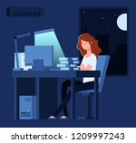 woman working at night. unhappy ... | Shutterstock .eps vector #1209997243