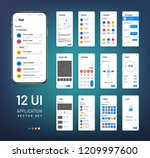 screen wireframes. mobile... | Shutterstock .eps vector #1209997600