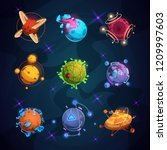 cartoon fantastic planets.... | Shutterstock .eps vector #1209997603