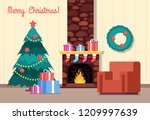 christmas tree and fireplace.... | Shutterstock .eps vector #1209997639