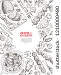 grilled meat and vegetables top ... | Shutterstock .eps vector #1210000480
