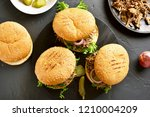 pulled beef sandwiches with... | Shutterstock . vector #1210004209