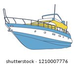 blue yellow motor boat.... | Shutterstock .eps vector #1210007776