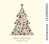 christmas card with decorative... | Shutterstock .eps vector #1210009603