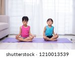 asian chinese little sisters... | Shutterstock . vector #1210013539