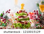 christmas tree from toasted... | Shutterstock . vector #1210015129