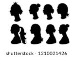 set girl silhouette head with... | Shutterstock .eps vector #1210021426