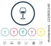 glass of wine flat color icons...   Shutterstock .eps vector #1210031140