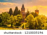 beautiful sunset landscape with ...   Shutterstock . vector #1210035196