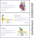 hair styling of stylist ... | Shutterstock .eps vector #1210041430