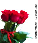 Stock photo bouquet of red roses on a white background 121005880