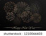 firework show on grey night sky ... | Shutterstock .eps vector #1210066603