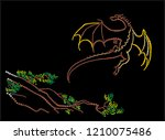 the dragon has flown up from a... | Shutterstock .eps vector #1210075486