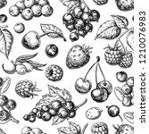 wild berry seamless pattern... | Shutterstock . vector #1210076983