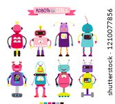 cute cartoon robots set for... | Shutterstock .eps vector #1210077856