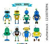 cute cartoon robots set for...   Shutterstock .eps vector #1210078096