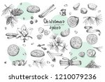 set of hand drawn christmas... | Shutterstock .eps vector #1210079236