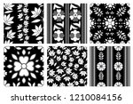 vector set of floral leafs... | Shutterstock .eps vector #1210084156