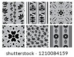 vector set of floral leafs... | Shutterstock .eps vector #1210084159