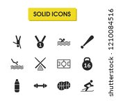exercise icons set with skier ...