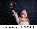 charming little girl in a... | Shutterstock . vector #1210085419