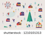 christmas market and holiday...   Shutterstock .eps vector #1210101313