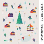 christmas market and holiday... | Shutterstock .eps vector #1210101316