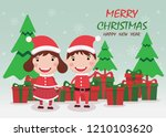 merry christmas and happy new... | Shutterstock .eps vector #1210103620