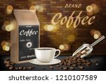 coffee cup with beans ads. 3d... | Shutterstock .eps vector #1210107589