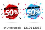 black friday sale and cyber... | Shutterstock .eps vector #1210112083