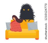 poster with depressed lonely... | Shutterstock .eps vector #1210124773