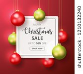 christmas sale banner with... | Shutterstock .eps vector #1210132240