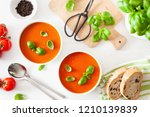 tomato soup flat lay on white...   Shutterstock . vector #1210139839