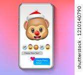 christmas emoji monkey in santa'... | Shutterstock .eps vector #1210140790