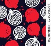 pomegranate. vector seamless... | Shutterstock .eps vector #1210146079