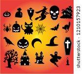 collection of halloween... | Shutterstock .eps vector #1210157923