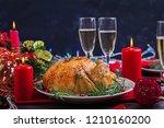 baked turkey. christmas dinner. ... | Shutterstock . vector #1210160200