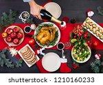 baked turkey. christmas dinner. ... | Shutterstock . vector #1210160233