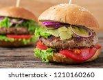 big sandwich   hamburger burger ... | Shutterstock . vector #1210160260
