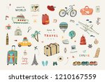 set of hand drawn travel doodle ... | Shutterstock .eps vector #1210167559
