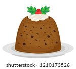 illustration of a plum pudding...   Shutterstock .eps vector #1210173526